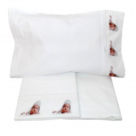 Completo lenzuola digitale Lettino Culla cotone cuffietta