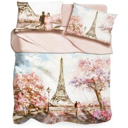 Lenzuola Copriletto 2 piazze matrimoniale digitale 3D I love sleeping Pink Paris