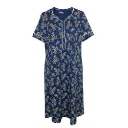 Camicia da notte estiva Abito casa donna in viscosa Linclalor 02301 fiori blu