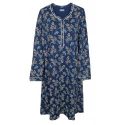 Camicia da notte Abito casa donna in viscosa Linclalor 02299 fiori blu