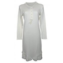 Camicia da notte donna cotone costine Tentazioni Folli 5602 panna