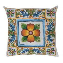 Cuscino arredo con imbottitura tessuto Gobelin Vingi fiori Taormina