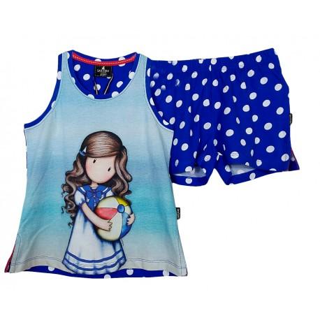 Pigiama bambina ragazza corto estivo Santoro London Gorjuss balon 55587 blu