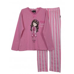 Pigiama bambina ragazza Lungo Santoro London Gorjuss 55580 Goodnight rosa