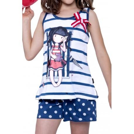 Pigiama bambina ragazza corto estivo Santoro London Gorjuss Summer Days 54448