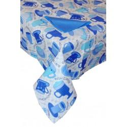 tovaglia rettangolare 12 posti con tovaglioli cotone tazze