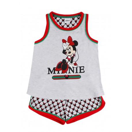 Pigiama bambina ragazza corto in cotone estivo Aznar Innova Disney Minnie 55096 grigio