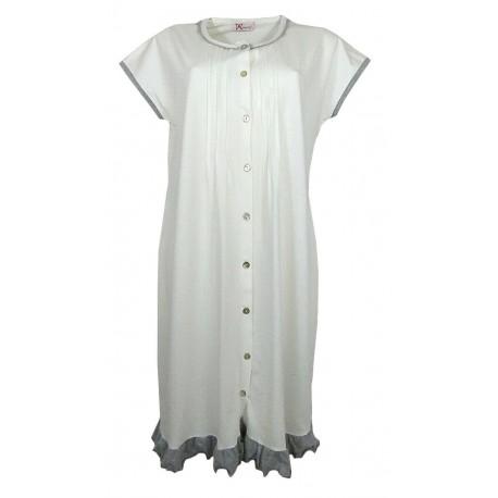 Camicia da notte donna Manuela Aperta Avanti in cotone 5250 panna