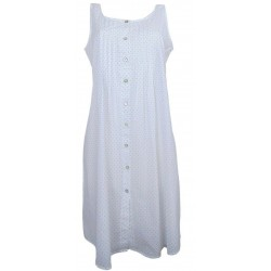 Camicia da notte donna spalla larga Manuela aperta avanti in batista