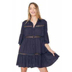 Copricostume Abito Donna Mare Vestito Admas in Cotone 19578 blu