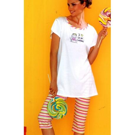 nuovo prodotto d6efb 8b0de Pigiama donna estivo Funky pinocchietto mezza manica - Dolce Casa Biancheria