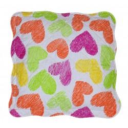 cuscino arredo ZIP quadrato trapuntato cuori arancio