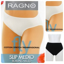 2 slip donna RAGNO Fly Medio in cotone bianco nero