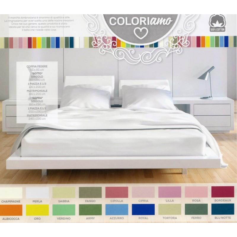 Lenzuolo sopra piano ambrosiana 18 colori 2 piazze for Casa a piano singolo