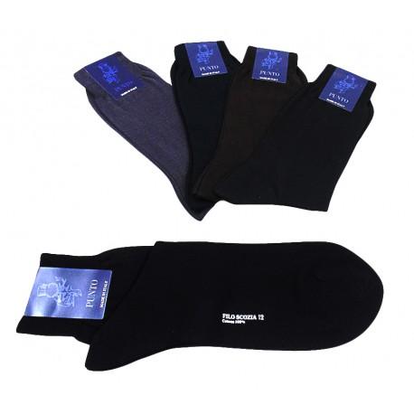 1 paio di calzini uomo corti in filo di scozia cotone Punto lancaster
