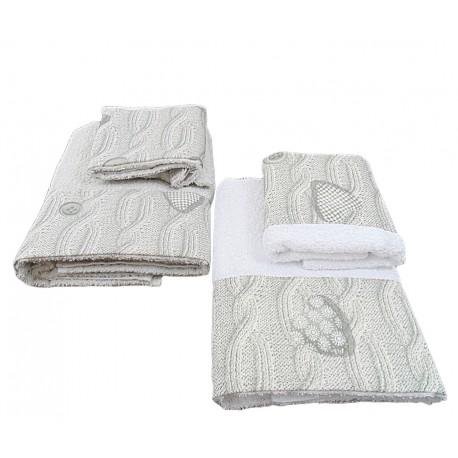Set asciugamano ed ospite di 4 pezzi treccia di lana