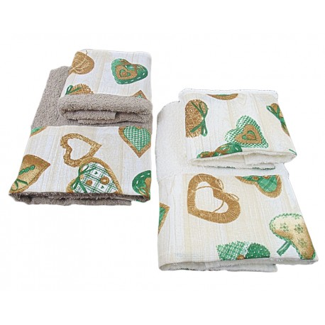 Set asciugamano ed ospite di 4 pezzi cuori